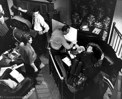 on set, The Servant (1963)
